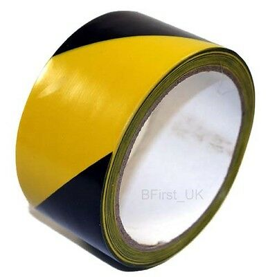 50mm Wide x 10m or 33m Long Hazard Warning Black and Yellow Adhesive Tape safety