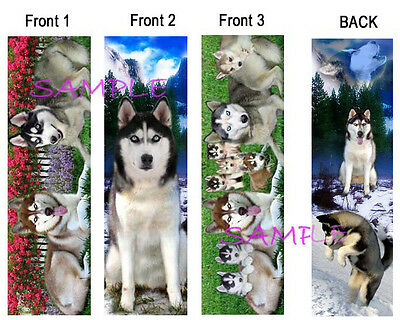 3 SIBERIAN HUSKY BOOKMARK Huskies SLED Dog Book Card Figurine Christmas Ornament