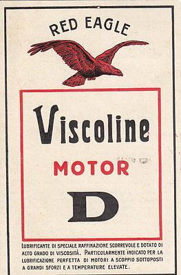 Cartolina Pubblicita' Lubrificante Red Eagle Viscoline