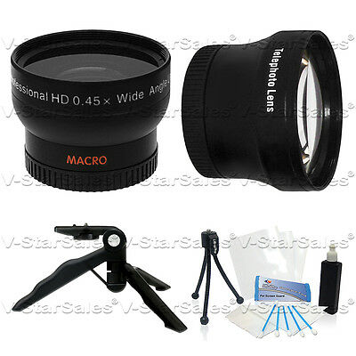 37mm 0.45X Wide Angle + 2X Telephoto Lens for SR12 CX7 CX12 CX100 XR100 XR200v