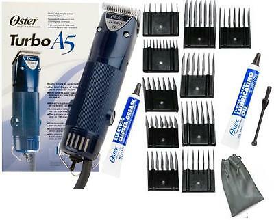 New Oster A5 1 Speed Turbo Animal dog horse Clipper/Blade/10 pc Comb Guides L@@k