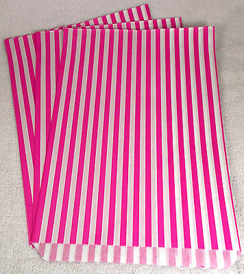 """100 x   10"""" x 14"""" Pink Candy Stripe Paper Sweet Bags Retro - Clearance SALE"""