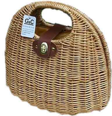 Wicker Vntage Rockabilly Clam Chabby Chic Bag And Inner Liner