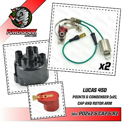 Lucas 45D Points & Condenser , Distributor Cap & Powermax Red Rotor Arm