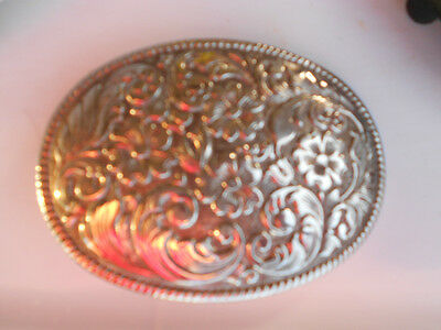 vintage silver plate flowered buckle,Chamber Belt Co,Phoenix,Made in USA,