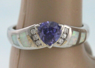 Inlaid LC Fire Opal & 6x6 mm Tanzanite Trillion Ring Sterling w/ Rhodium Size 9