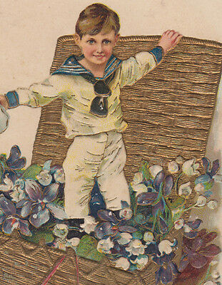 Little Boy in Gold Textured Basket Birthday Postcard