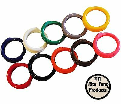 """10 Multi Colored Leg Bands 11/16""""-#11 For Poultry Chicken Hen Cock Rock Red"""
