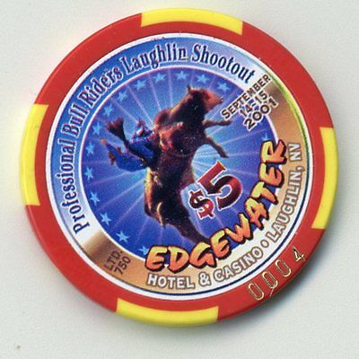 Edgewater 2001 Riders Shootout Laughlin  Casino $5  Numbered Chip
