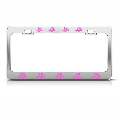 PINK HIBISCUS FLOWERS Metal License Plate Frame Tag Holder Four Holes