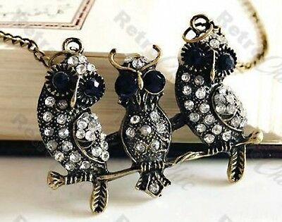 VINTAGE style CRYSTAL OWL NECKLACE long chain RHINESTONE antique brass/bronze