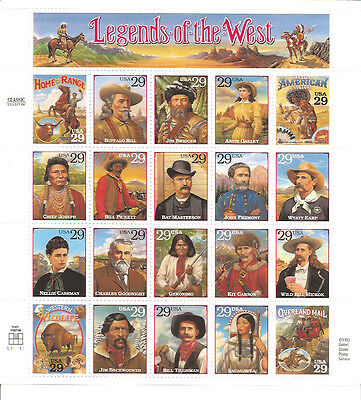 2869 LEGENDS OF WEST MINT MINI STAMP SHEET 20@29c
