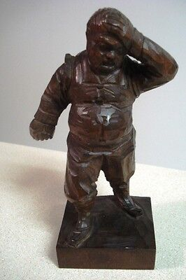 Old Handcarved Wooden Euopean  Man Wood