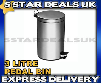 3 Litre Stainless Steel Pedal Bin Waste Dustbin Home Office Bathroom En Suite
