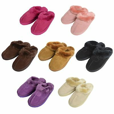 New Ladies Real Suede EGO Brand Womens Slip On Mule Slippers SNUGG Fleece Lining