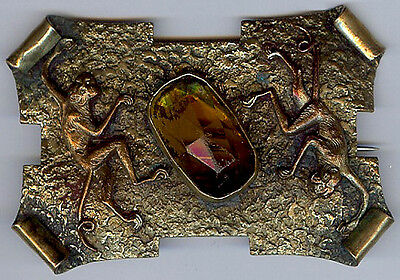 Great Antique Brass & Faceted Glass Monkeys Sash Pin Brooch *