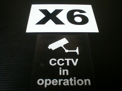 6 x CCTV IN OPERATION reverse-printed window stickers signs 85mm x 75mm  camera