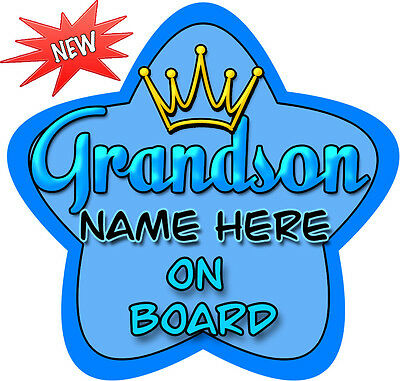 Personalised Bright Blue Grandson Star Shaped  Baby On Board Car Sign ~ New!