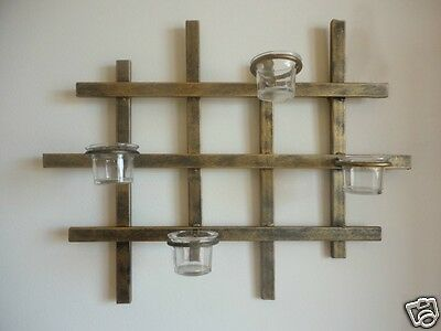 Decorative Iron Candle Holder Sconce Wall Art  Horizontal Brass Color