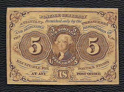 JULY 17th 1862 USA NBNC FRACTIONAL CURRENCY 5c JEFFERSON