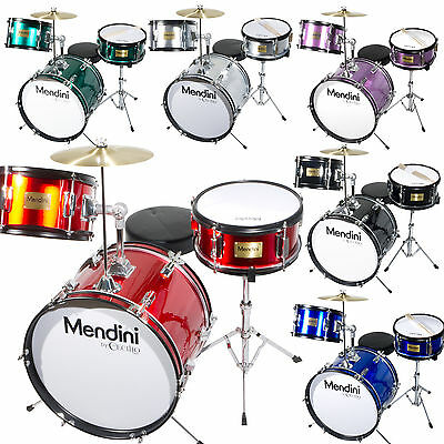 Mendini 16 Junior Kids Child Drum Set Kit Black Blue Green Red