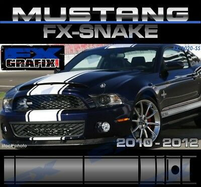 """2010 - 2012 Ford Mustang Snake Style Super Stripes 18"""" with Pin Stripe Kit"""
