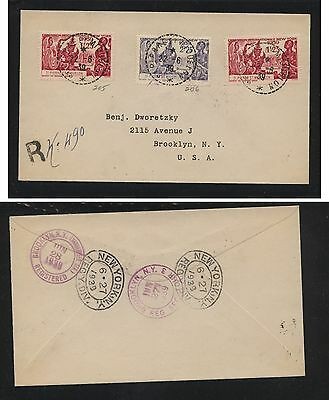 St Pierre & Miquelon  205,206 on registered cover , scarce on cover    a1120--15