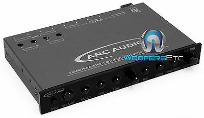 Keq5 Arc Audio 5 Band Equalizer Aux 9 Volts Sub Subwoofer Speakers Pre Amp New