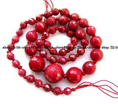 multicolor new gemstone 6-14mm Jade round faced gradually Beads 18'' high qualit