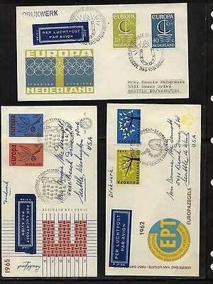 Netherlands     3 Europa stamps  cachet  covers       a1124-19