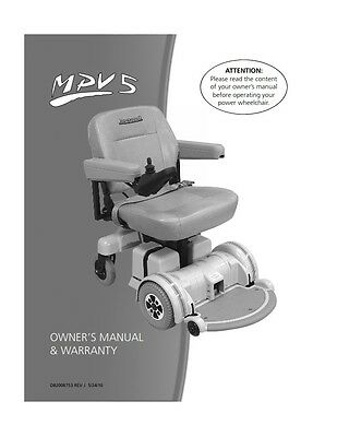 HOVEROUND MPV5 OWNER'S eMANUAL + Power Wheelchair Tech Repair eGuide. pdf file