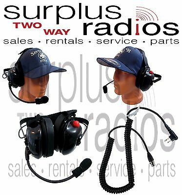 New Pryme Dual Muff Racing Headset For Motorola Radio Cp200 Cp150 Pr400 Gp300