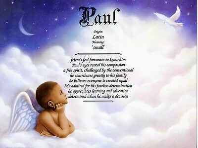 Angel Boy 2 Name Meaning Print Personalized (Nursery Decor, African-American)