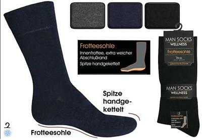 6 Paar Herren  Business Winter Socken mit Frotteesohle 80% BW farbig WOW