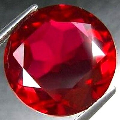 AAA Rated Round Faceted Bright Red Lab Created Ruby (Size 2mm to 16mm)