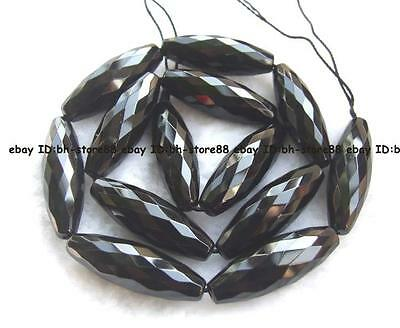 10x30mm AAA natural Black onyx drum faceted Beads 15'' new gemstone high quality