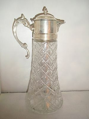"Antique Silver ""EP Zinc Italy"" 14in Wine Claret / Water Pitcher w Hinged Lid"
