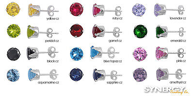 925 Sterling Silver Round Cz Birthstone Color Stud Earrings New