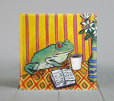frog coffee picture amphibian gift art tile coaster