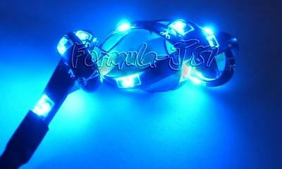 LED SMD 355 BULB BLUE X 2 STRIPS 60CM AUTO CAR BIKE BOAT FLEXIBLE GRILL AQUARIUM