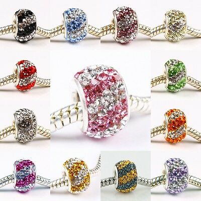 DOUBLE LINE SWAROVSKI CRYSTAL AUTHENTIC 925 STERLING SILVER EUROPEAN CHARM BEAD