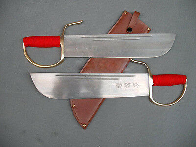 Wing Chun Bart Cham Dao Carbon steel handmade shank red brown leather Scabbard