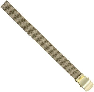 "Khaki Nylon 54"" Web Belt With Brass Buckle"
