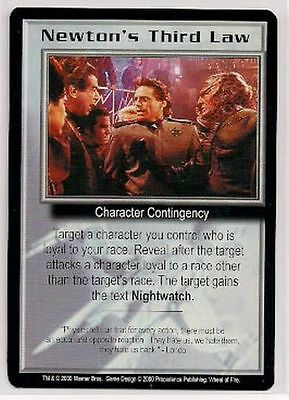 Babylon 5 CCG Wheel of Fire RARE Newton's Third Law NM