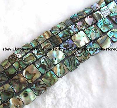 natural abalone Shell flat square Beads 15'' 8mm,10mm,12mm,14mm