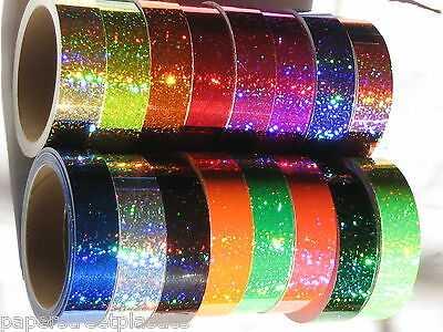 Set of 16 Different Color Glittering Sparkle Tapes, 4 inch x 25 feet