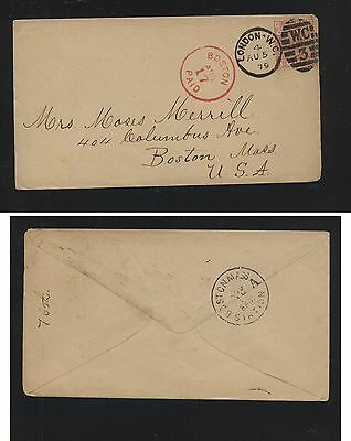 Great Britain  67 pl14 on cover to US, bold cancels  1879        HT1216