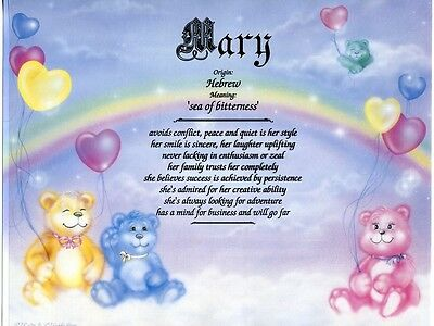 """""""Cuddly Bears"""" Name Meaning Print Personalized (Nursery Child's Room Gift Baby)"""