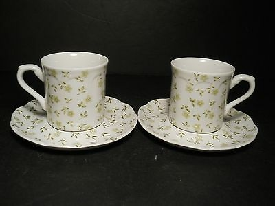 vtg J&G Meakin Lot of 2 Cups & Saucers Forget Me Not Green & White J&G Meakin