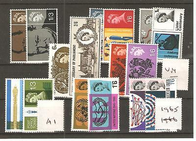Gb - Commems - 1965 - Eight  Unmounted  Mint Sets